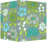 Blue, Turquoise, Green & Gray Floral Design - Blank Notecard