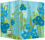 Blue, Turquoise, Lime Hollyhock Floral Design - Blank Notecard