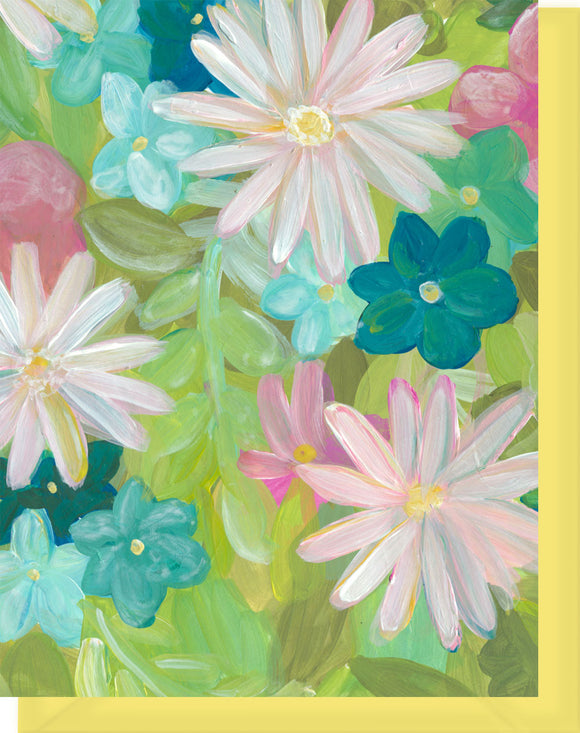 Pink, Green, Yellow, Turquoise Daisy Floral Design - Blank Notecard
