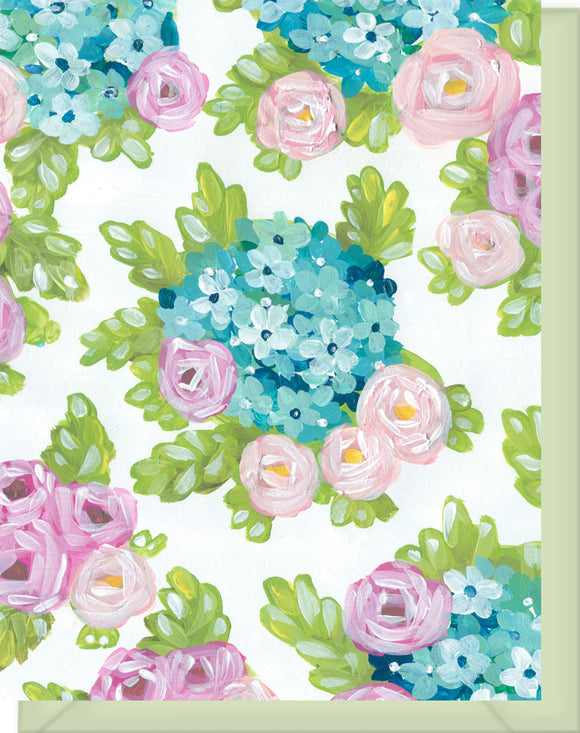 Pink Roses & Blue Hydrangeas Floral Design - Blank Notecard