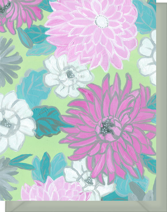 Pink, Gray & White Mums Floral Design - Blank Note Card