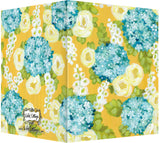 Golden Yellow, Turquoise & White Hollyhock Floral Design - Blank Notecard