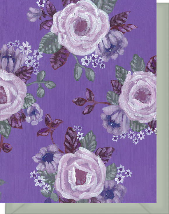 All Purple & White Floral Design - Blank Note Card