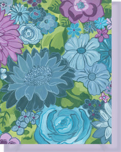 Purple, Blue & Turquoise Floral Design - Blank Notecard