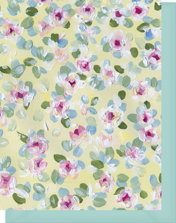 Pink, Yellow & Green Chintz Floral Design - Blank Notecard