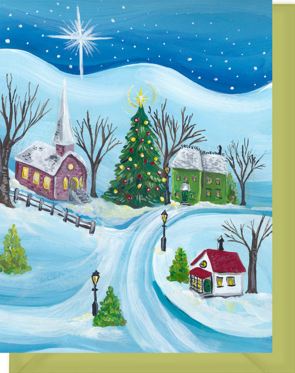Sleepy Christmas Village - Merry Christmas & Happy New Year Greeting Card