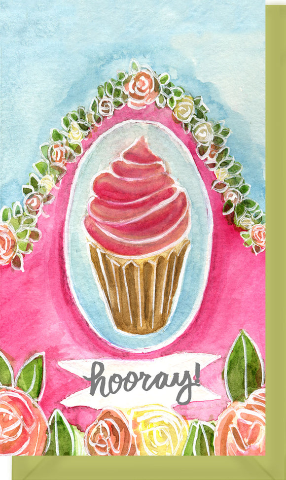 Small Enclosure Card - Cupcake Hooray Pink and Blue