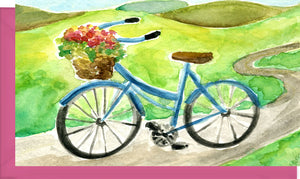 Small Enclosure Card - Bicycle with Flowers