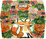 Small Enclosure Card - Orange Fox with Roses and Succulents