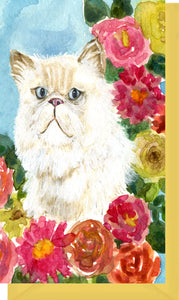 Small Enclosure Card - Persian Cat with Flowers