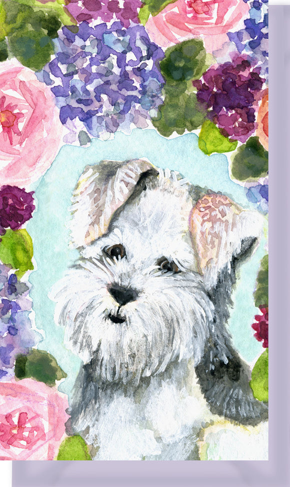 Small Enclosure Card - Fluffy Terrier Puppy Dog with Flowers