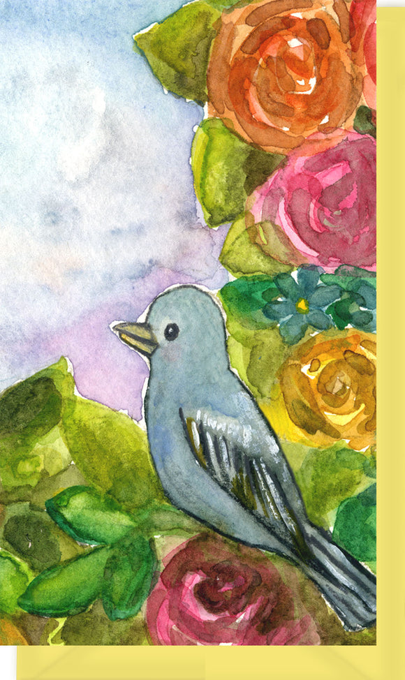 Small Enclosure Card - Bird with Flowers