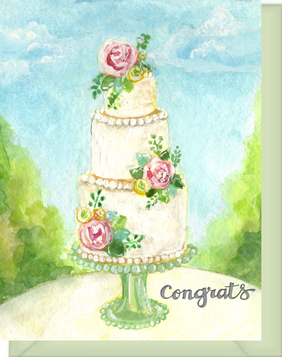 Congrats Wedding Cake Greeting Card - Wishing you love...