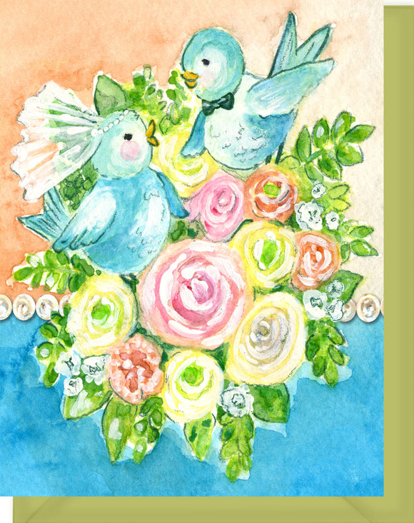 Vintage Lovebirds Wedding Greeting Card - Congrats to the two lovebirds