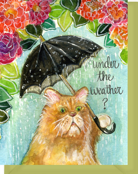 Under the Weather Cat with Flowers Greeting Card