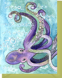 Watercolor Octopus - Blank Note Card