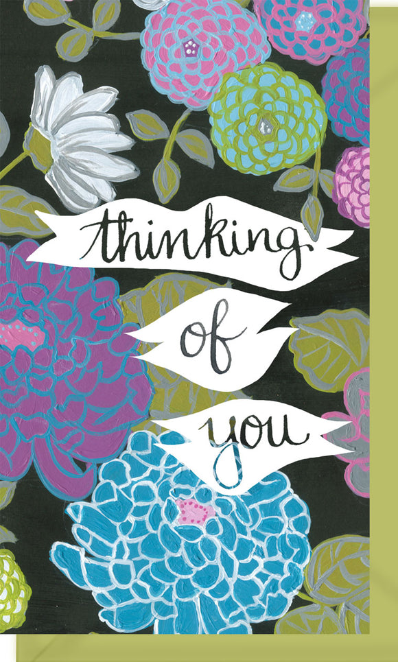 Small Enclosure Card - Thinking of You Flowers Black Background