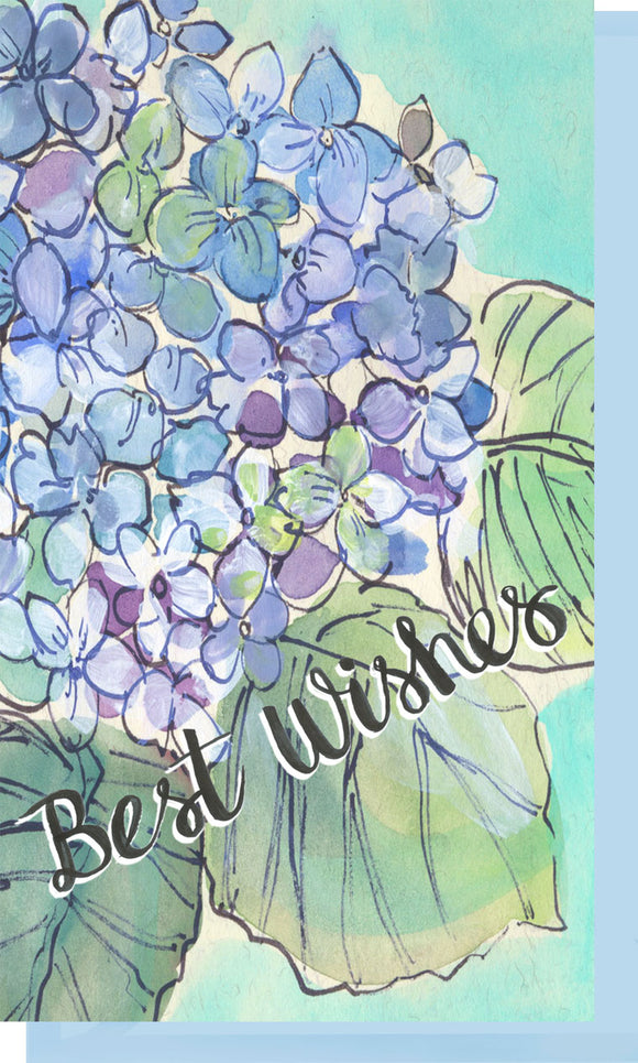 Small Enclosure Card - Best Wishes Hydrangeas