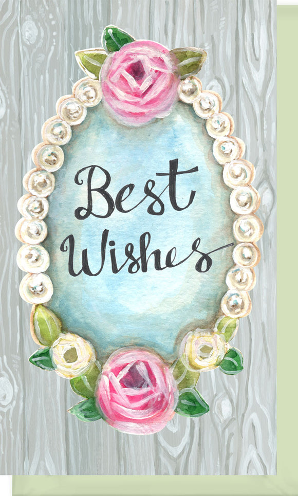 Small Enclosure Card - Best Wishes Pearls and Wood