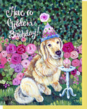 Golden Retriever Birthday Greeting Card - Blank Inside