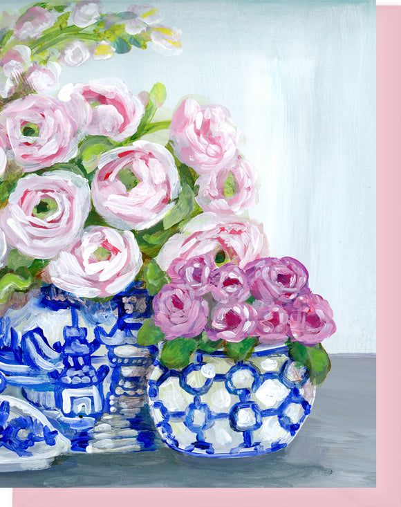 Blue and White Vases with Flowers - Blank Inside Notecard