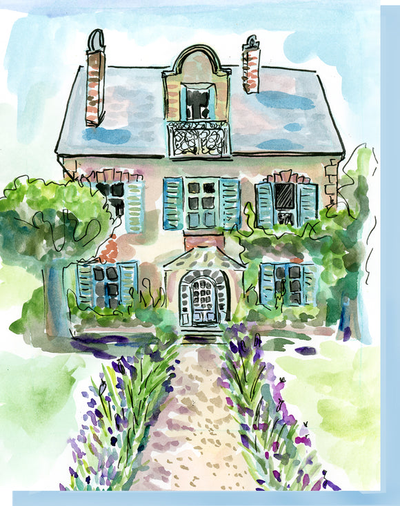 Watercolor House & Garden - Blank Inside Notecard