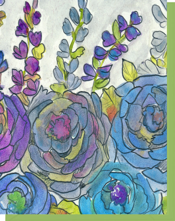 Watercolor Hollyhocks & Roses - Blank Inside Notecard