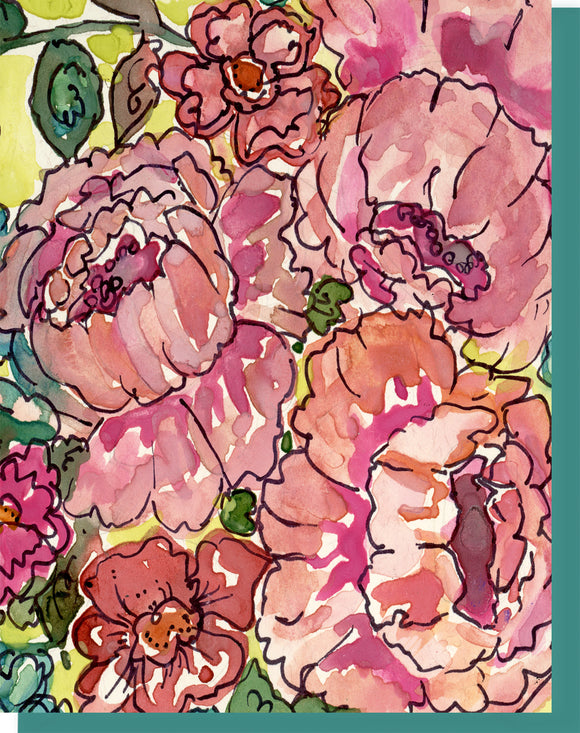Watercolor Cabbage Roses Pink & Turquoise - Blank Inside Notecard