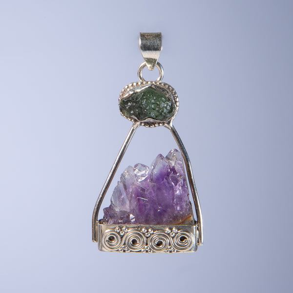 Amethyst Pendant with Moldavite detail