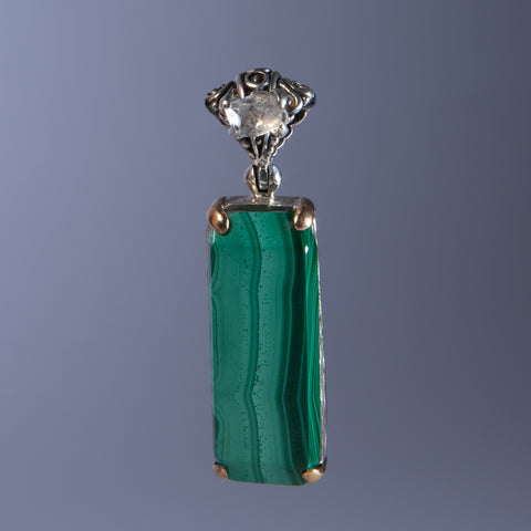 Malachite Pendant with Herkimer Diamond Accent