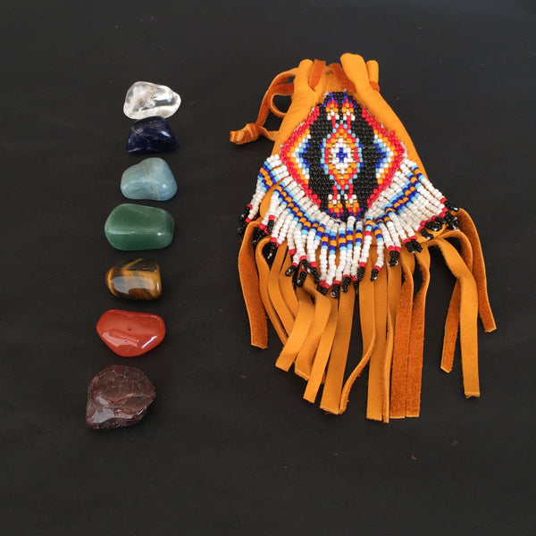 Chakra Kit w/ Handmade Leather Medicine Bag