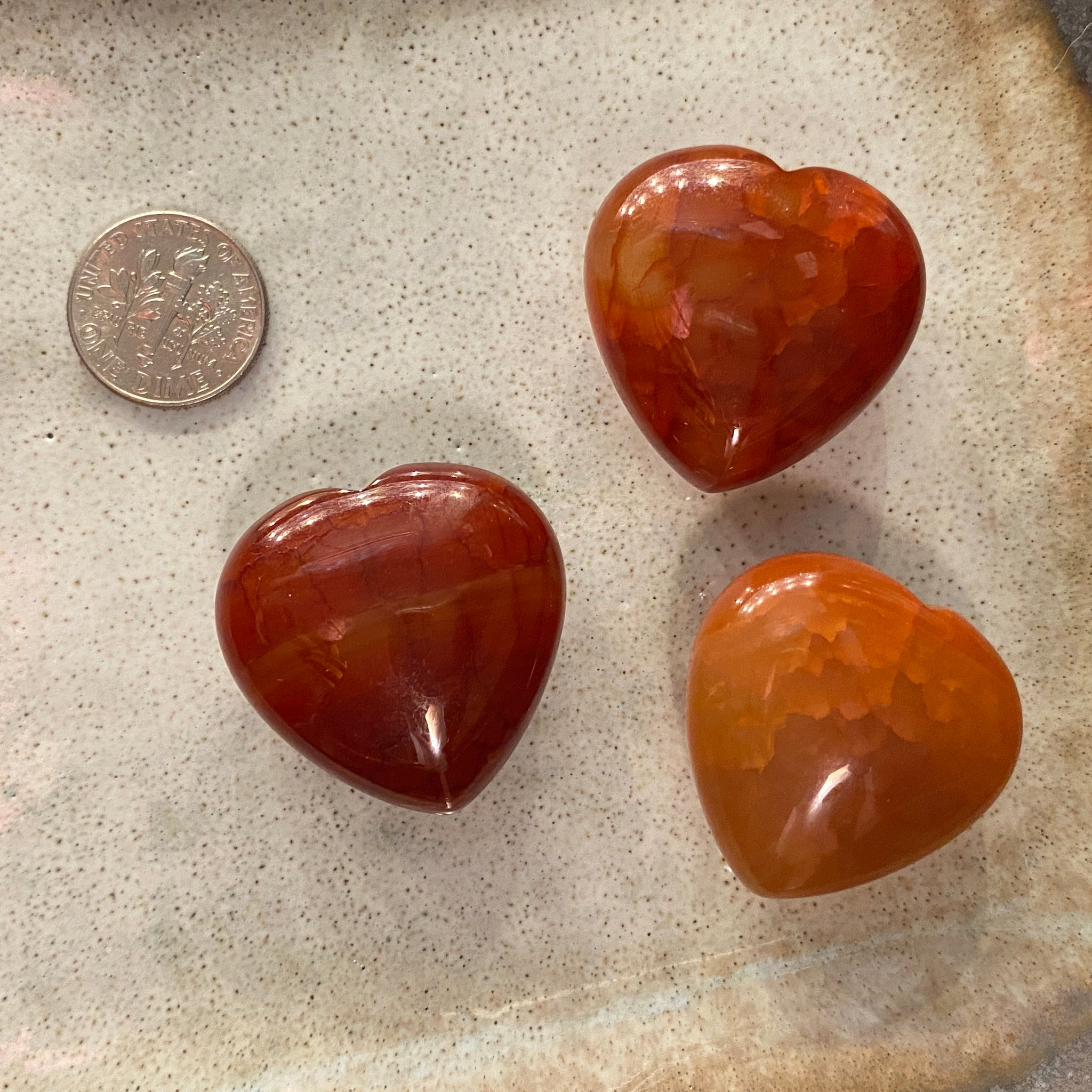 Crackled Fire Agate Heart