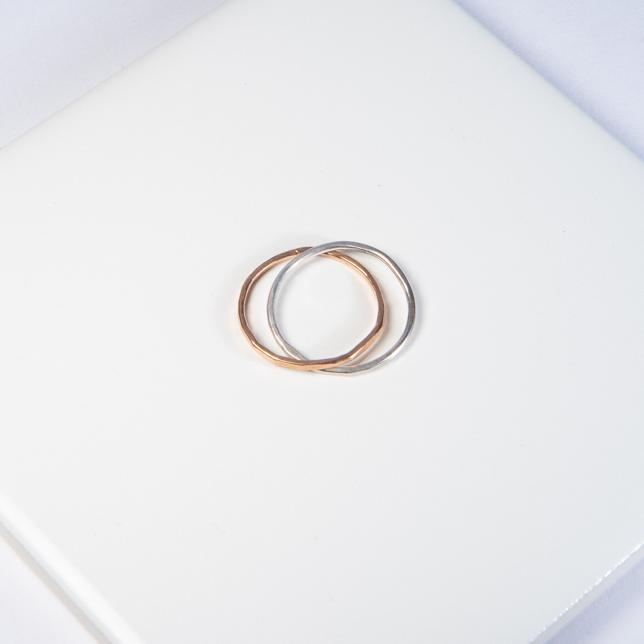 Connected Rose Gold and Silver Ring