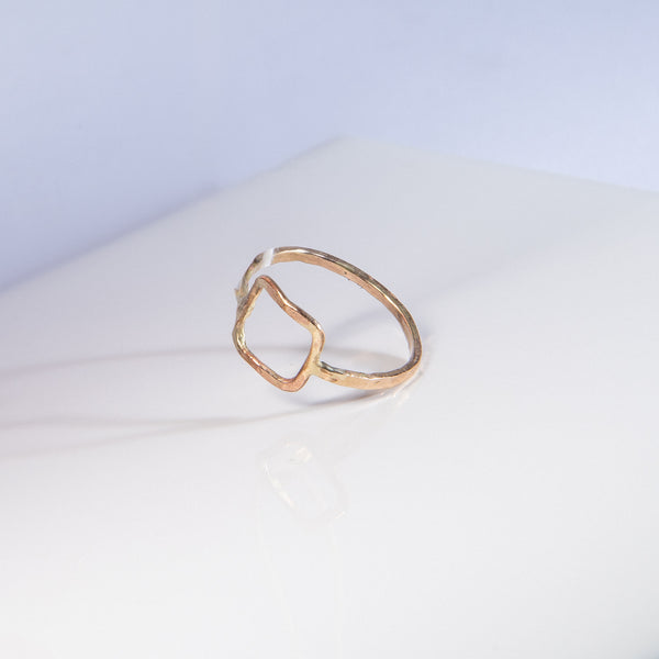 Open Square Gold-Fill Ring