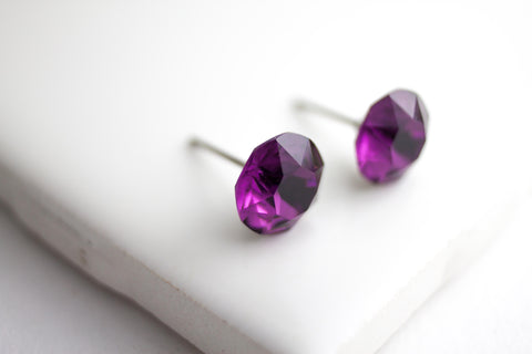 Swarovski Stud Earring Large Table cut, Cool Tones