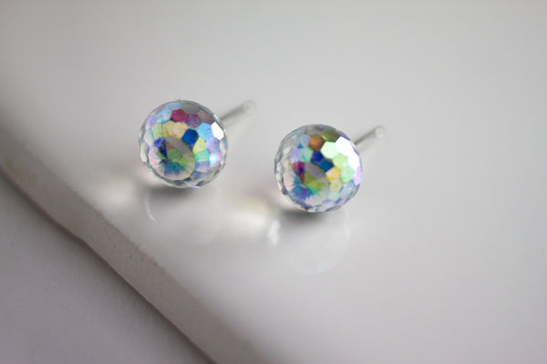 Swarovski Stud Earring (Small, Faceted Sphere)