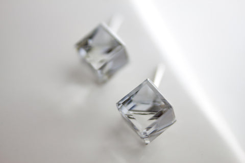 Swarovski Stud Earring (Medium, Cube)