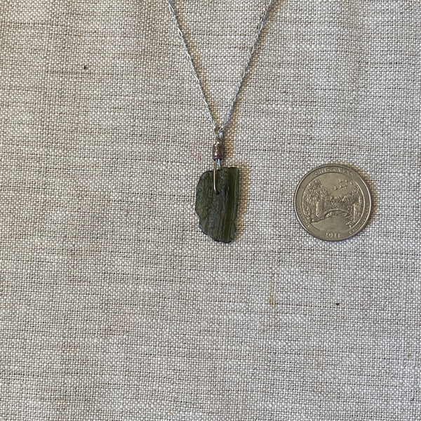 "Moldavite Pendant A with 12"" Figaro chain"