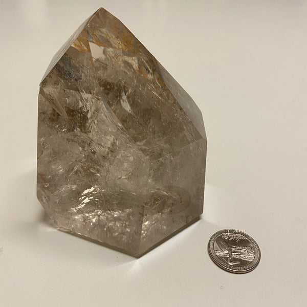 Polished Quartz A, Standing point with Hematite Inclusion