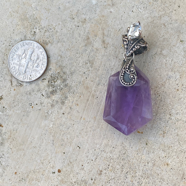 Ametrine Pendant with Herkimer detail