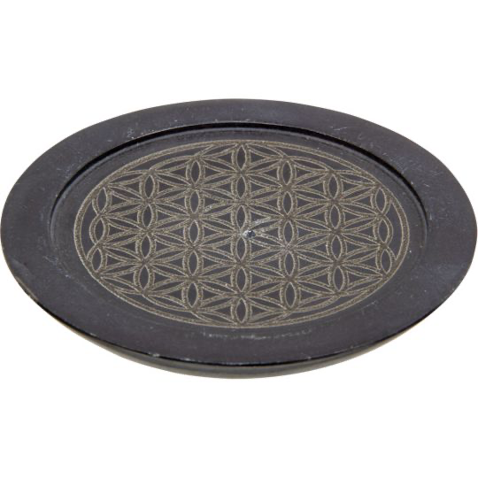 Soapstone Incense Holder - Flower of Life 3""