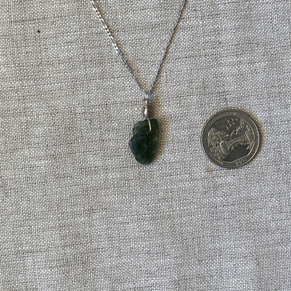 "Moldavite Pendant D with 18"" Figaro chain"