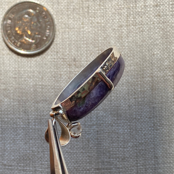 Charoite Pendant with Herkimer detail