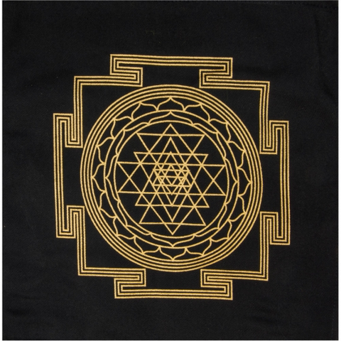 Printed Cotton Crystal Grid - Sri Yantra