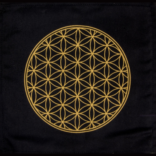 Printed Cotton Crystal Grid - Flower of Life
