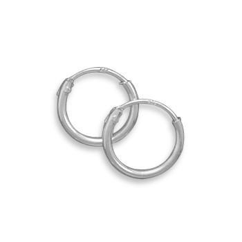 10mm Silver Endless Hoop Earrings