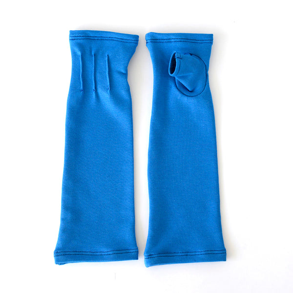 "Long ""Stellar Blue"" fingerless gloves/(fingerless mitts)made from bamboo  www.aylagloves.com"
