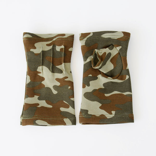 Short camoflauge fingerless gloves/(fingerless mitts)made from bamboo www.aylagloves.com