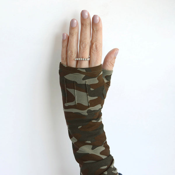 Long camoflauge fingerless gloves/(fingerless mitts)made from bamboo  www.aylagloves.com