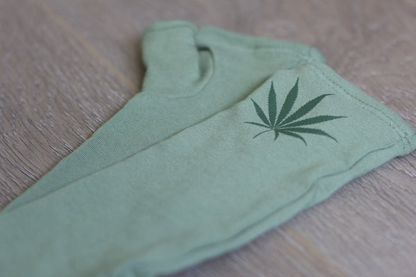 """MJ"" Olive green with hemp leaf"